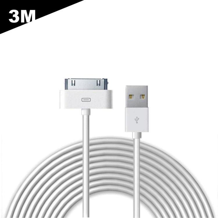 3 Meter - iPhone 4 / 4S kabel | Datakabel 30-Pin
