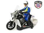 Politie motor met led flash light en politie geluiden