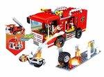 COGO City- Brandweerauto - bouwsteen pakket van 184 stuks - 2in1 bouwblokken set Brandweerbrigade
