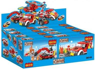 COGO 3018 Fire Fighter Brandstation bouwblokken - Display van 8 sets verschillende bouwsteentjes  -brandweer