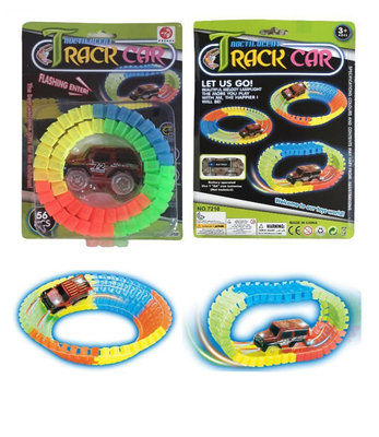 Track car Glow in Dark Flexibele Tracks speelgoed set auto 56pcs.
