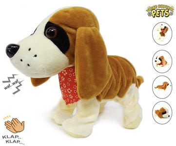 Blaffende speelgoed hondje - Met 7 verschillende kunstjes op geluid/aanraken - Voice Control Pets clap dog- 29CM